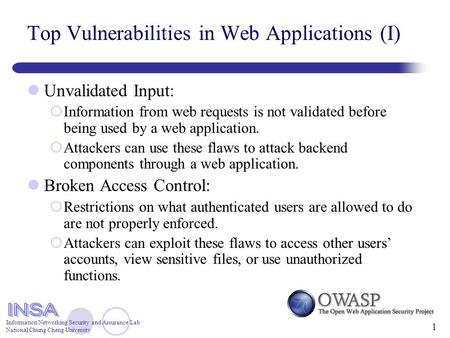 Information Networking Security and Assurance Lab National Chung Cheng University 1 Top Vulnerabilities in Web Applications (I) Unvalidated Input:  Information.
