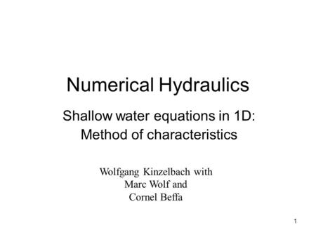Shallow water equations in 1D: Method of characteristics