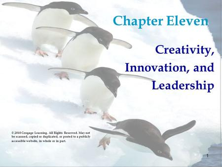 1 Chapter Eleven Creativity, Innovation, and Leadership © 2010 Cengage Learning. All Rights Reserved. May not be scanned, copied or duplicated, or posted.