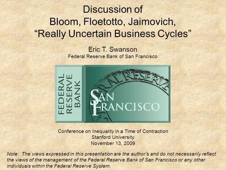 "Bloom, Floetotto, Jaimovich, ""Really Uncertain Business Cycles"""