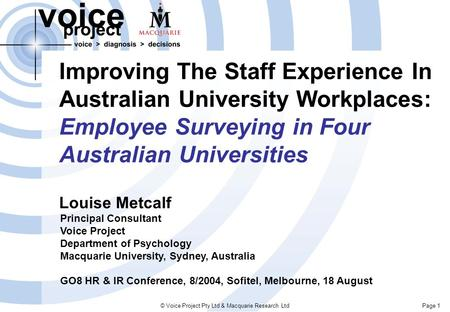Page 1© Voice Project Pty Ltd & Macquarie Research Ltd Improving The Staff Experience In Australian University Workplaces: Employee Surveying in Four Australian.