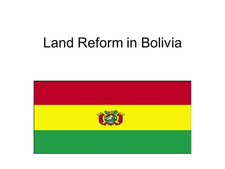 Land Reform in Bolivia. Demographics –Bolivian population: 9,119,152 (July '07 est.) Ethnic groups: –Quechua: 30% –Mestizo (mixed white & Amerindian.