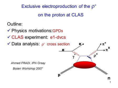 1 Exclusive electroproduction of the    on the proton at CLAS  Outline: Physics motivations: GPDs CLAS experiment: e1-dvcs Data analysis:   cross.