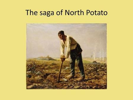 The saga of North Potato. Residents of the isolated country of North Potato subsist entirely on potatoes and fish. There are 1000 farmers in North Potato.