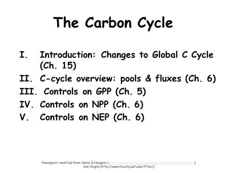 The Carbon Cycle I.Introduction: Changes to Global C Cycle (Ch. 15) II.C-cycle overview: pools & fluxes (Ch. 6) III. Controls on GPP (Ch. 5) IV.Controls.