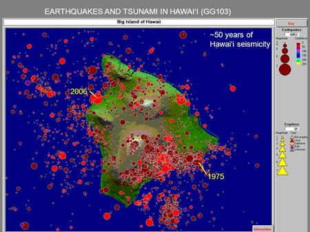 EARTHQUAKES AND TSUNAMI IN HAWAI'I (GG103) 2006 1975 ~50 years of Hawai'i seismicity.