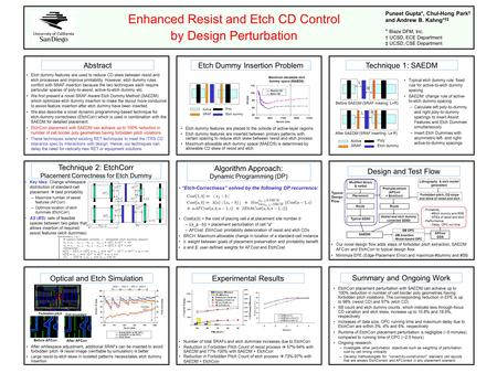 Enhanced Resist and Etch CD Control by Design Perturbation Abstract Etch dummy features are used to reduce CD skew between resist and etch processes and.