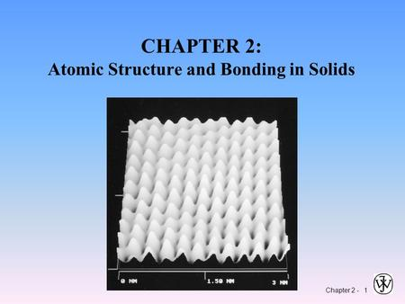Chapter 2 - 1 CHAPTER 2: Atomic Structure and Bonding in Solids.
