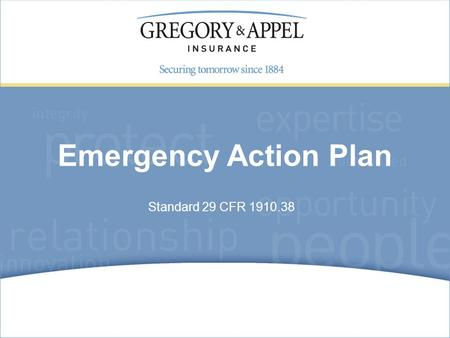 Emergency Action Plan Standard 29 CFR 1910.38.