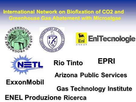 International Network on Biofixation of CO2 and International Network on Biofixation of CO2 and Greenhouse Gas Abatement with Microalgae Greenhouse Gas.