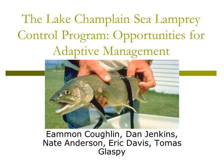 The Lake Champlain Sea Lamprey Control Program: Opportunities for Adaptive Management Eammon Coughlin, Dan Jenkins, Nate Anderson, Eric Davis, Tomas Glaspy.