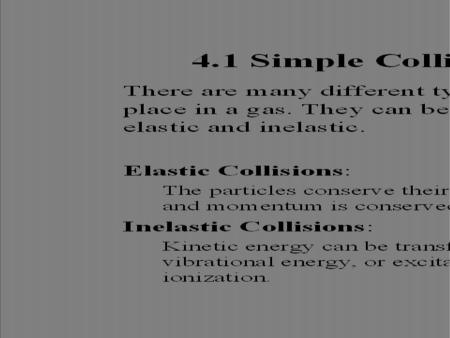 Prof. Reinisch, EEAS 85.483/511. 4.1 Simple Collision Parameters (1) There are many different types of collisions taking place in a gas. They can be grouped.