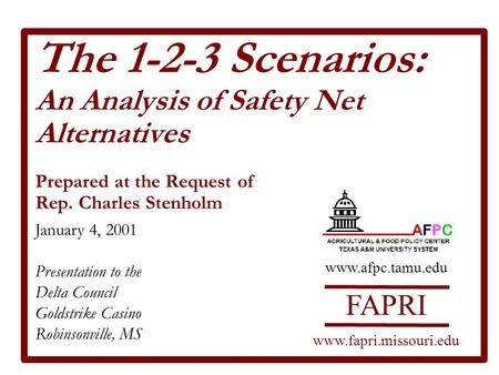 The 1-2-3 Scenarios: An Analysis of Safety Net Alternatives Prepared at the Request of Rep. Charles Stenholm January 4, 2001 Presentation to the Delta.