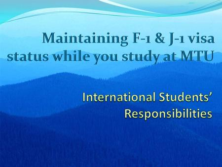 International Students' Responsibilities