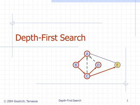 © 2004 Goodrich, Tamassia Depth-First Search1 DB A C E.
