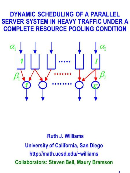 1 DYNAMIC SCHEDULING OF A PARALLEL SERVER SYSTEM IN HEAVY TRAFFIC UNDER A COMPLETE RESOURCE POOLING CONDITION Ruth J. Williams University of California,