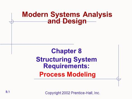 Copyright 2002 Prentice-Hall, Inc. Modern Systems Analysis and Design Chapter 8 Structuring System Requirements: Process Modeling 8.1.