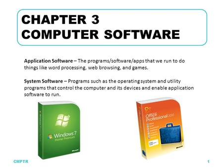 CMPTR1 CHAPTER 3 COMPUTER SOFTWARE Application Software – The programs/software/apps that we run to do things like word processing, web browsing, and games.