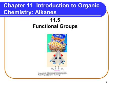 1 Chapter 11 Introduction to Organic Chemistry: Alkanes 11.5 Functional Groups Copyright © 2005 by Pearson Education, Inc. Publishing as Benjamin Cummings.