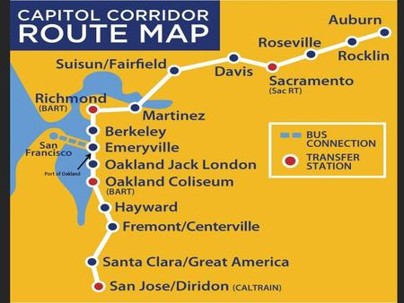 Port of Oakland. Northern California's 'Capitol Corridor' on Union Pacific Railroad The busiest intercity passenger route in the country outside the NEC.