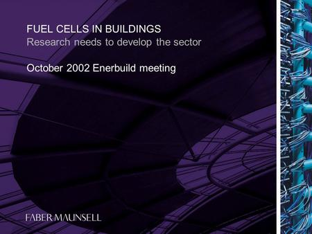October 2002 Enerbuild meeting FUEL CELLS IN BUILDINGS Research needs to develop the sector.