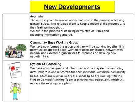New Developments Journals These were given to service users that were in the process of leaving Brewer Street. This enabled them to keep a record of the.