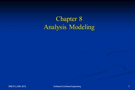 Chapter 8 Analysis Modeling
