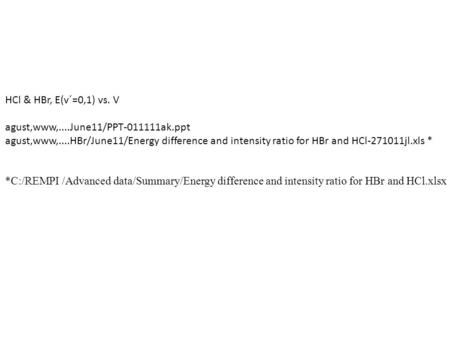HCl & HBr, E(v´=0,1) vs. V agust,www,....June11/PPT-011111ak.ppt agust,www,....HBr/June11/Energy difference and intensity ratio for HBr and HCl-271011jl.xls.