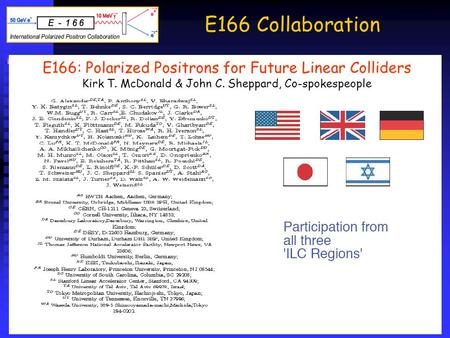 E166 Collaboration About 45+2 members from 16+1 institutions from all three regions (Asia, Europe, the Americas, and Daresbury) About 45+2 members from.