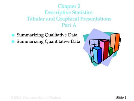 1 1 Slide © 2006 Thomson/South-Western Chapter 2 Descriptive Statistics: Tabular and Graphical Presentations Part A n Summarizing Qualitative Data n Summarizing.