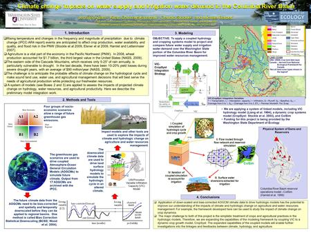 Crop Physical System of Dams and Reservoirs Climate change impacts on water supply and irrigation water demand in the Columbia River Basin Jennifer Adam.