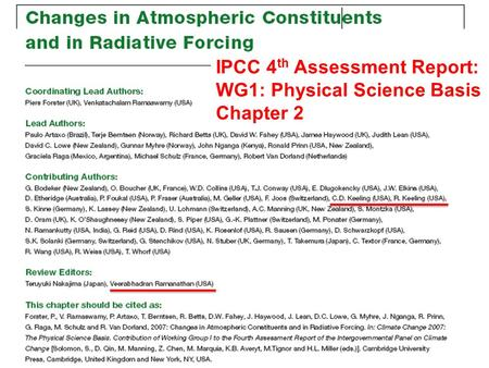 IPCC 4 th Assessment Report: WG1: Physical Science Basis Chapter 2.