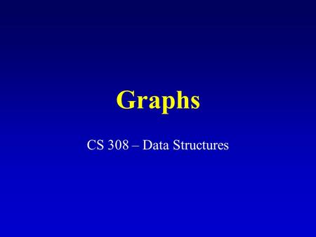 Graphs CS 308 – Data Structures. What is a graph? A data structure that consists of a set of nodes (vertices) and a set of edges that relate the nodes.