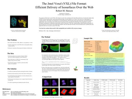 The Jmol Voxel (VXL) File Format: Efficient Delivery of Isosurfaces Over the Web Robert M. Hanson The Problem Raw surface data files (CUBE, APBS, etc.)