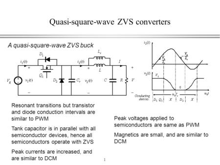 1 Quasi-square-wave ZVS converters A quasi-square-wave ZVS buck Resonant transitions but transistor and diode conduction intervals are similar to PWM Tank.