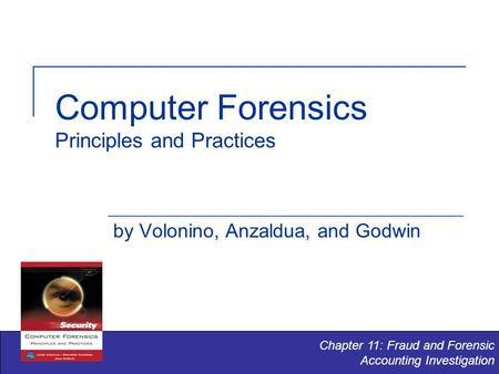 Computer Forensics Principles and Practices by Volonino, Anzaldua, and Godwin Chapter 11: Fraud and Forensic Accounting Investigation.