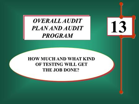 13 OVERALL AUDIT PLAN AND AUDIT PROGRAM HOW MUCH AND WHAT KIND