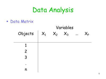 1 Data Analysis  Data Matrix Variables ObjectsX1X1 X2X2 X3X3 …XPXP 1 2 3. n.