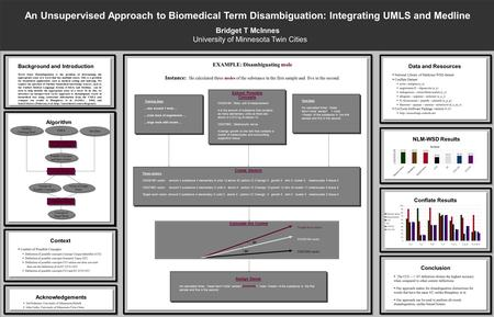 An Unsupervised Approach to Biomedical Term Disambiguation: Integrating UMLS and Medline Bridget T McInnes University of Minnesota Twin Cities Background.