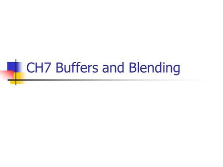 CH7 Buffers and Blending. Blending Example 1/6 #include #include glut.h GLfloat alpha = 0.0; GLfloat pos[4] = {0, 10, 10, 0}; GLfloat dif_l[4] = {1.0,