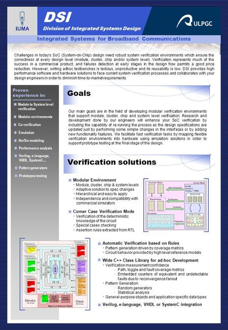 DSI Division of Integrated Systems Design Functional Verification Environments Development Goals Our main goals are in the field of developing modular.