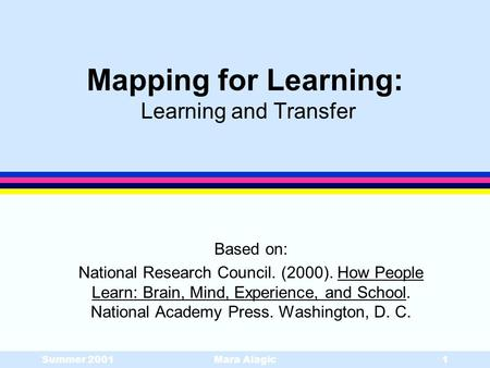 Mapping for Learning: Learning and Transfer
