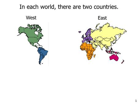 In each world, there are two countries. West East 1.