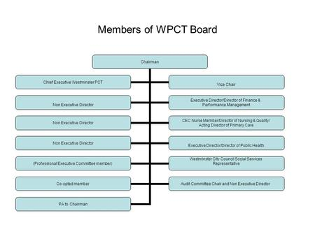Members of WPCT Board Chairman Non Executive Director Executive Director/Director of Finance & Performance Management Non Executive Director CEC Nurse.