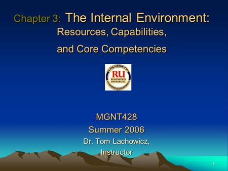MGNT428 Summer 2006 Dr. Tom Lachowicz, Instructor