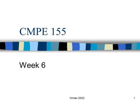 Winter 20021 CMPE 155 Week 6. Winter 20022 Yet more servers… NFS and NIS.