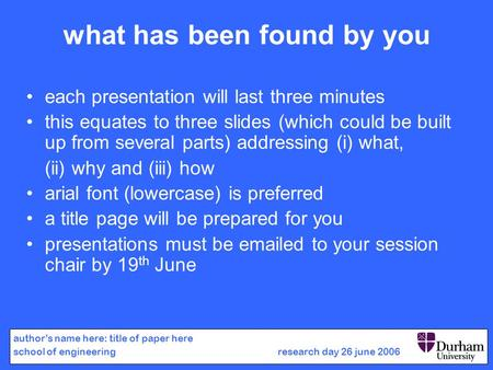 What has been found by you each presentation will last three minutes this equates to three slides (which could be built up from several parts) addressing.
