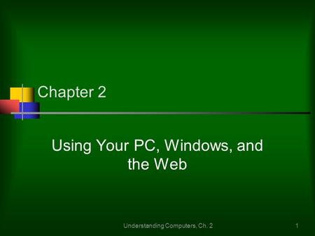 Understanding Computers, Ch. 21 Chapter 2 Using Your PC, Windows, and the Web.