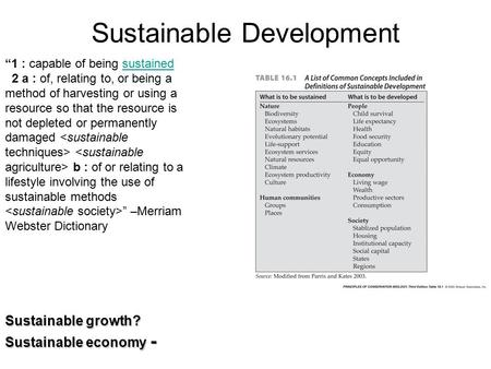 "Sustainable Development Sustainable growth? Sustainable economy - ""1 : capable of being sustainedsustained 2 a : of, relating to, or being a method of."