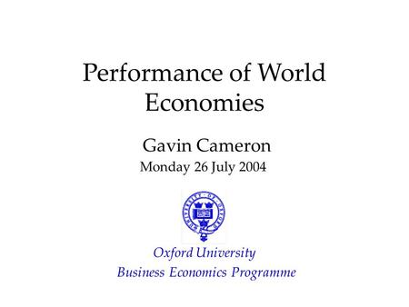 Performance of World Economies